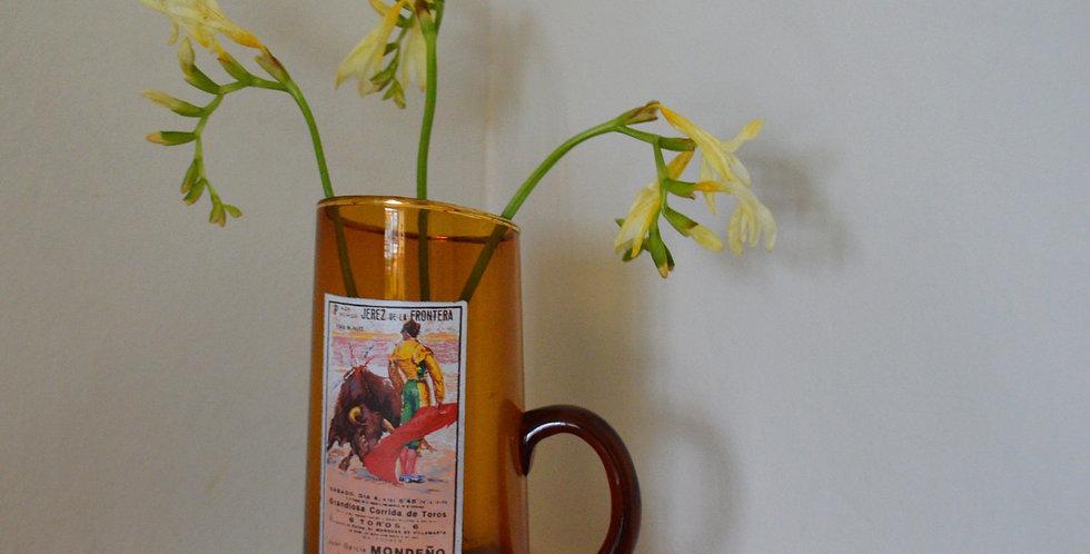 Amber Spanish Bull Fight Glass Jug Vase