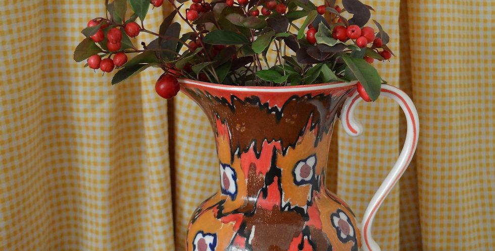 Hand Painted 1930's Painterly Red Orange Jug Vase