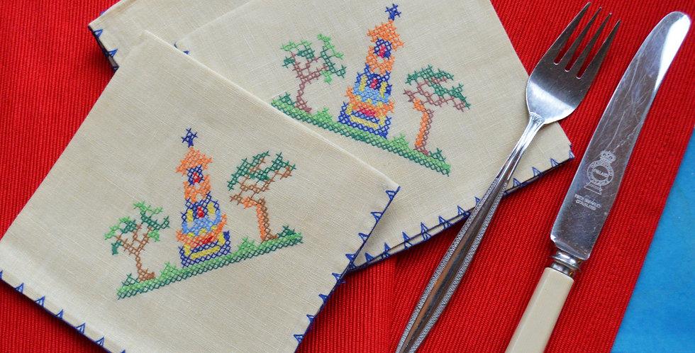 Vintage 1950's Embroidered Napkins x 6