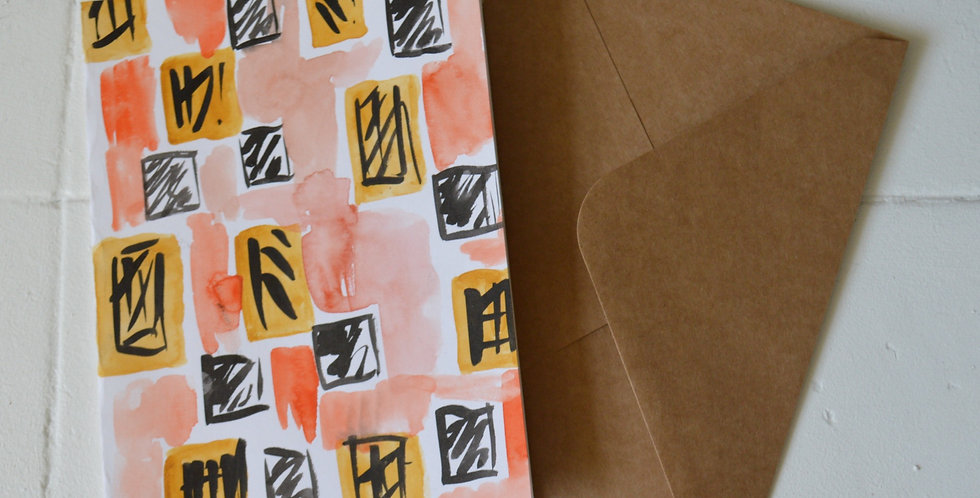 Hand Painted Watercolour Abstract Orange Greeting Card