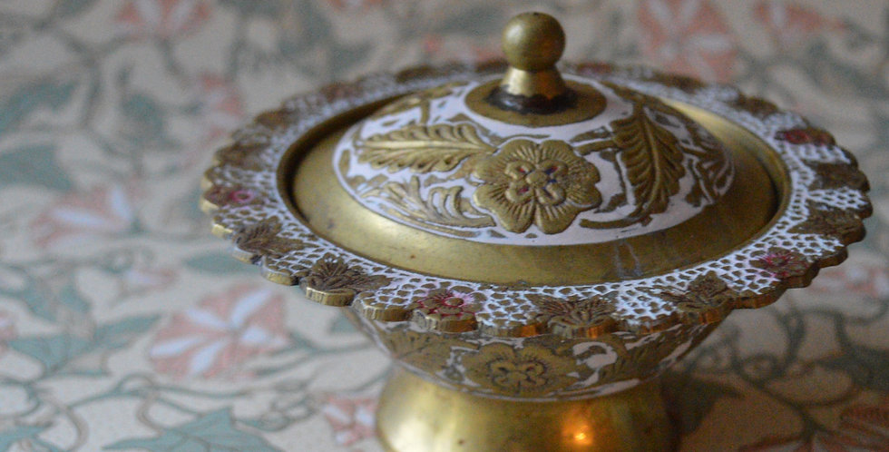 Antique Floral Inscribed Brass Jewellery/Sugar Pot