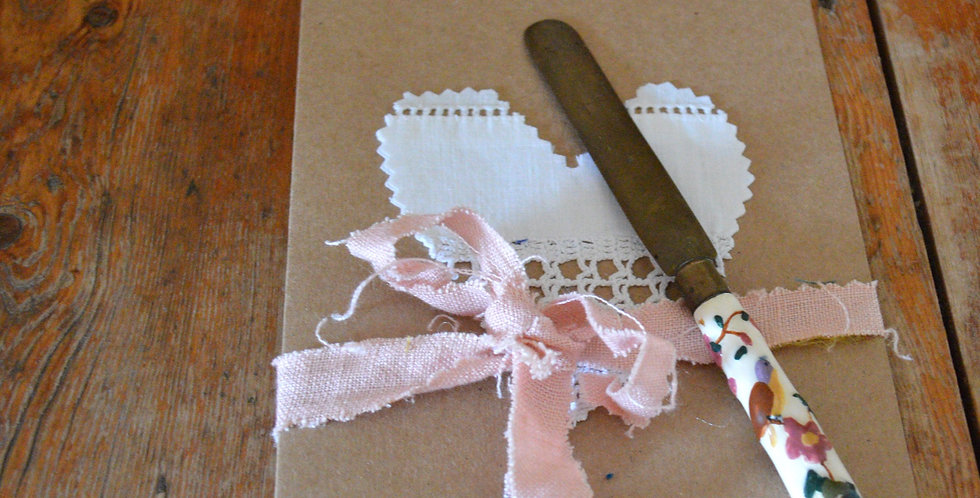 Antique Painted Porcelain Butter Knife Gift