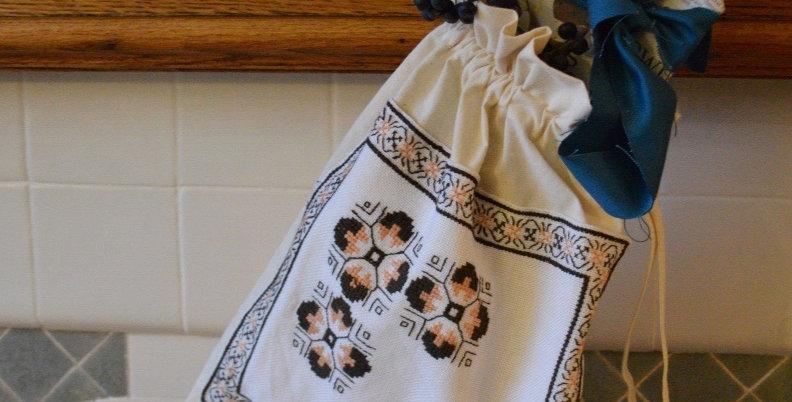 Vintage Ukrainian Geometric Embroidered Drawstring Bag