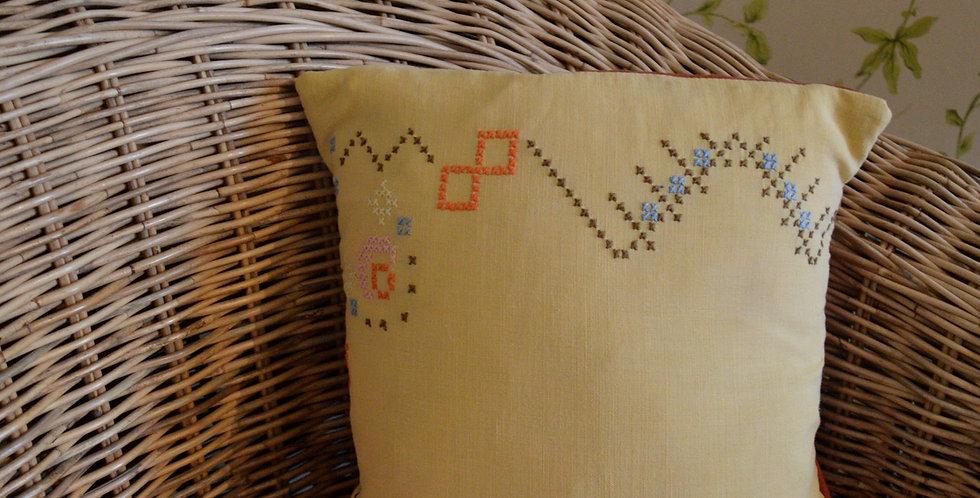 Lemon Yellow Cross Stitch Embroidered Border Mini Cushion
