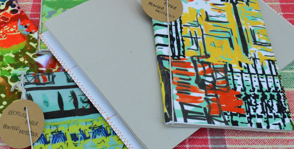 Vibrant Hand Illustrated Fabric Covered Notebook
