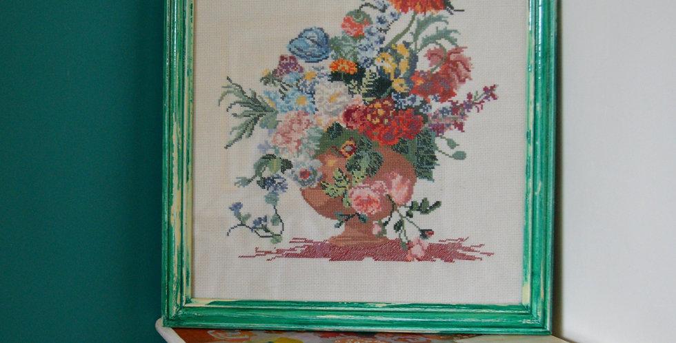 Floral Still Life Cross Stitch Framed Art