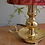Thumbnail: Antique Brass Side Table Lamp + Abstract Shade