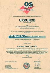 certificate for laminar flow box