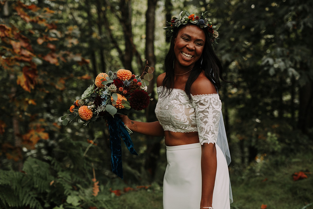 Bride with Flower Crown and Autumn Bridal Bouquet