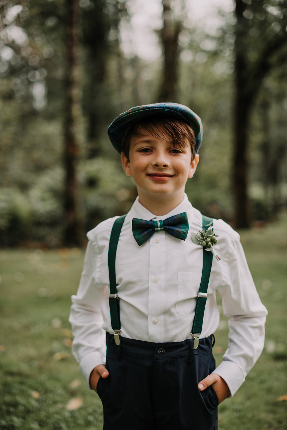 Ring Bearer Wearing Scottish Plaid and Boutonniere for PNW Wedding