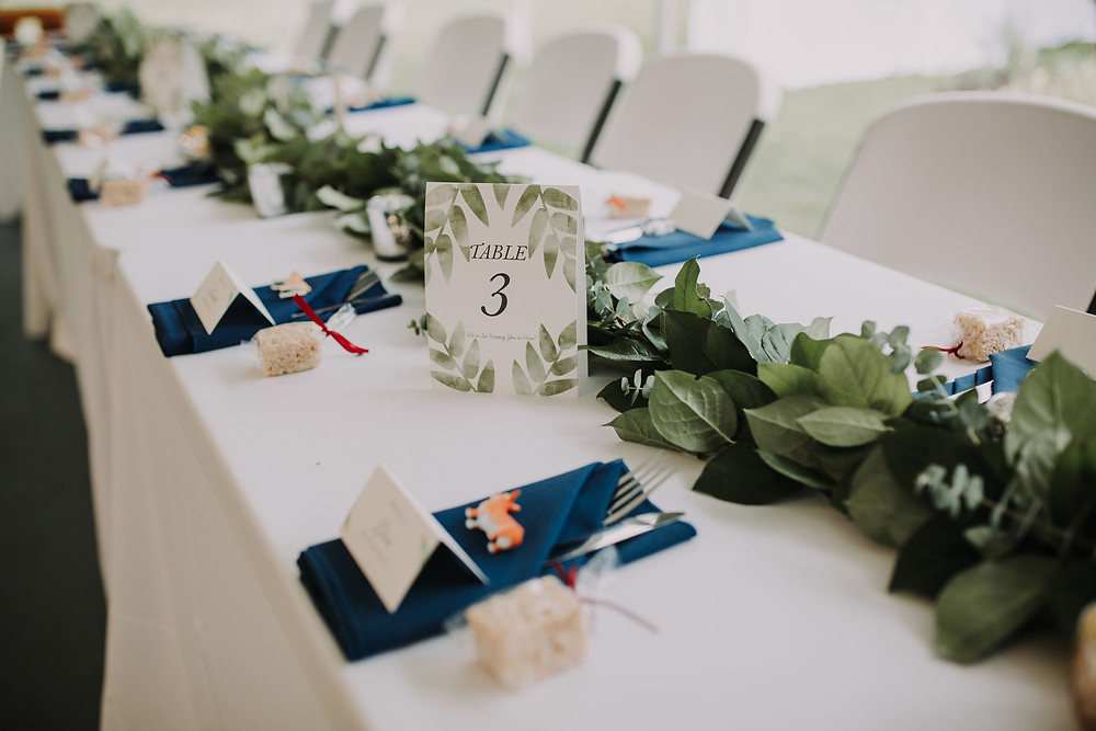 Greenery on Tables at PNW Wedding Reception