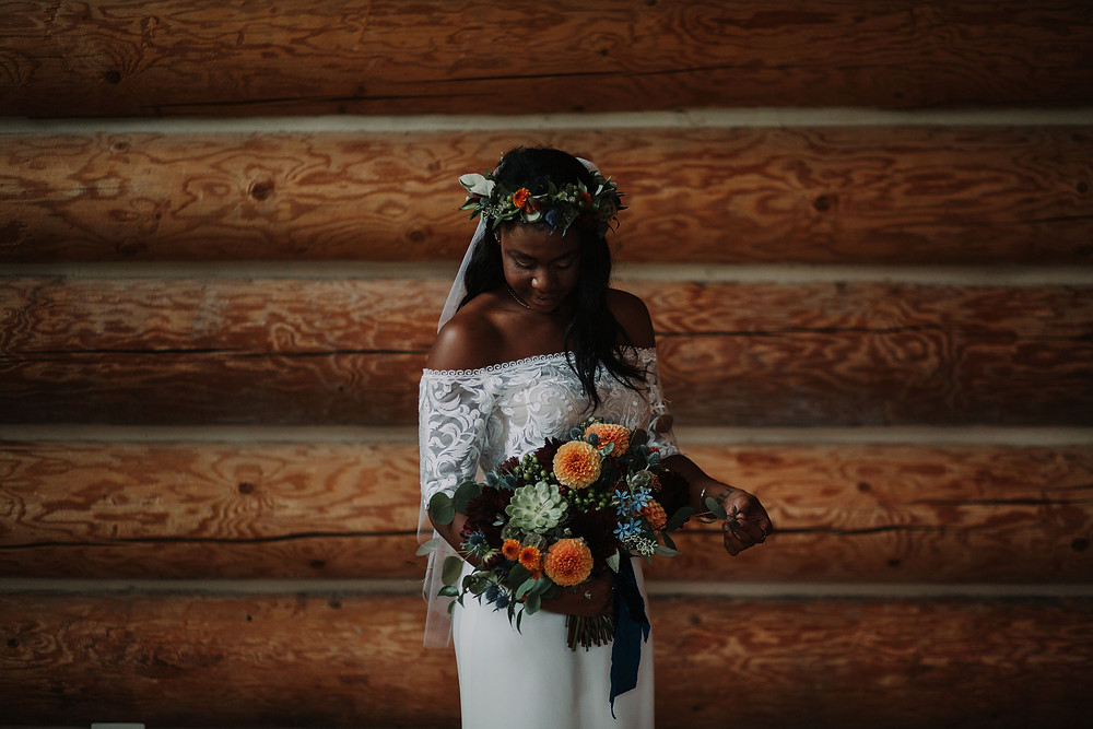 Bride with Boho Flower Crown and Large Bridal Bouquet