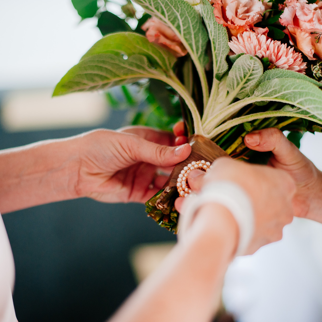 Heirloom Brooch on Bridal Bouquet