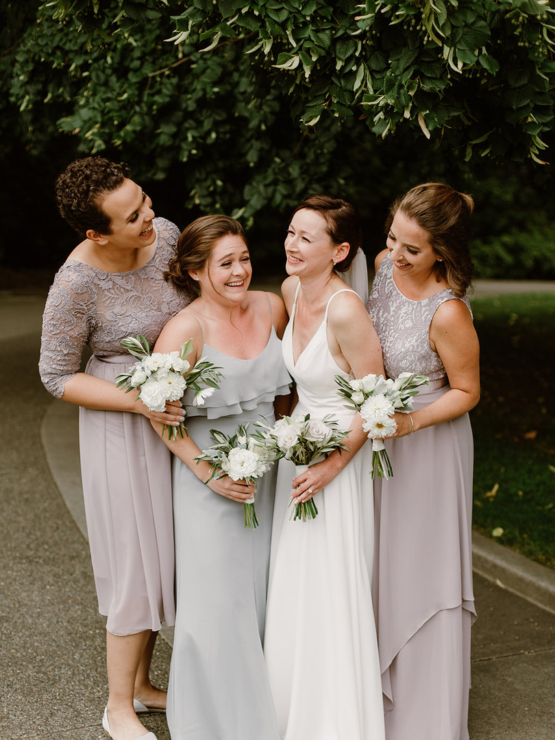 White and Gray Bridal Party Bouquets