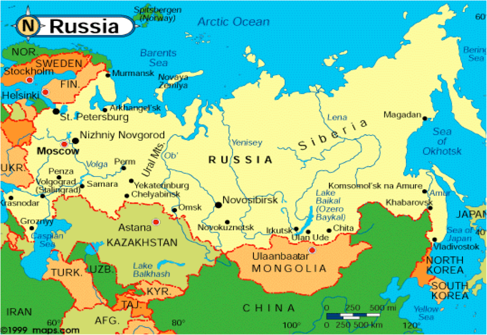Map of Russia  circa 2000