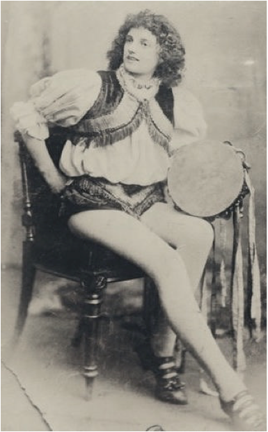 Gertrude in theatrical dancing costume