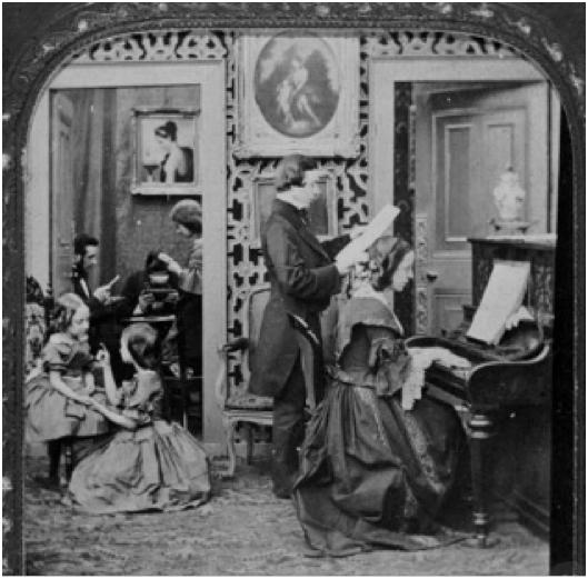 Victorian family scene, 19th century