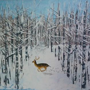 """Obraz """"Jelonek w zimowej brzezinie"""""""