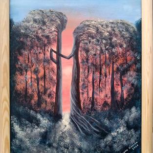 """Obraz """"Drzewa żyją"""" 50 x 40 cm w ramie sosnowej"""