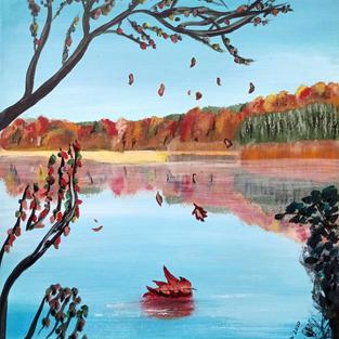"""Sprzedany. Obraz """"Jesienne jezioro"""""""
