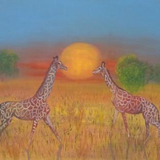 """Obraz """"Tęczowe żyrafy"""""""
