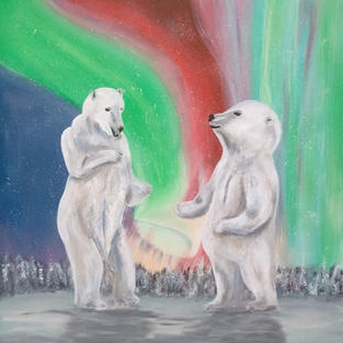"Obraz ""Polarne zaloty"" 50 x 50 cm."