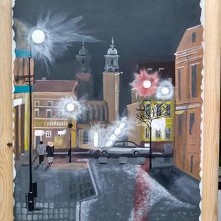 """Obraz """" Gniezno nocą"""" zakwalifikowany na prestiżową wystawę im. Bieńka w Bielsku Białej - 2021."""