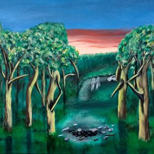 """Obraz """"Biwak w lesie"""""""