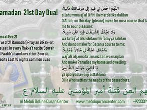 Ramadan 21st Day Dua & Amaal for 21st Eve