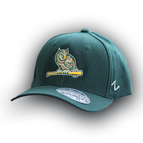Owl On Bat Green Logo Hat