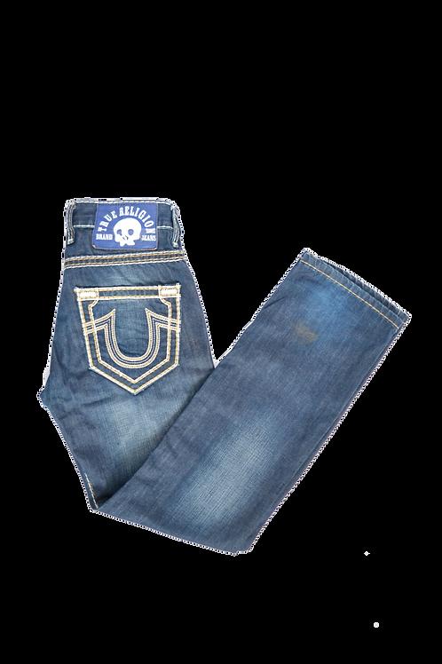 True Religion Brand Jeans Beige Stitched Jeans 32