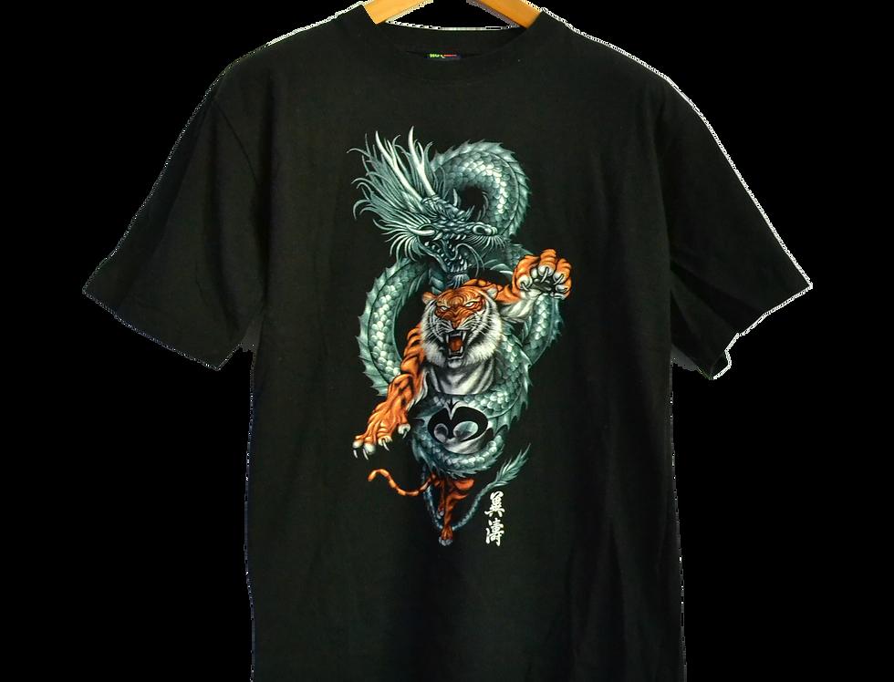 Tattoo Graphic Tee Dragon fighting a Tiger L