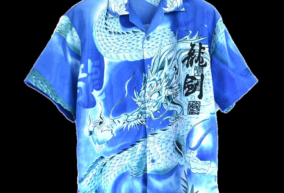 Electric Blue Thunder dragon Shirt L