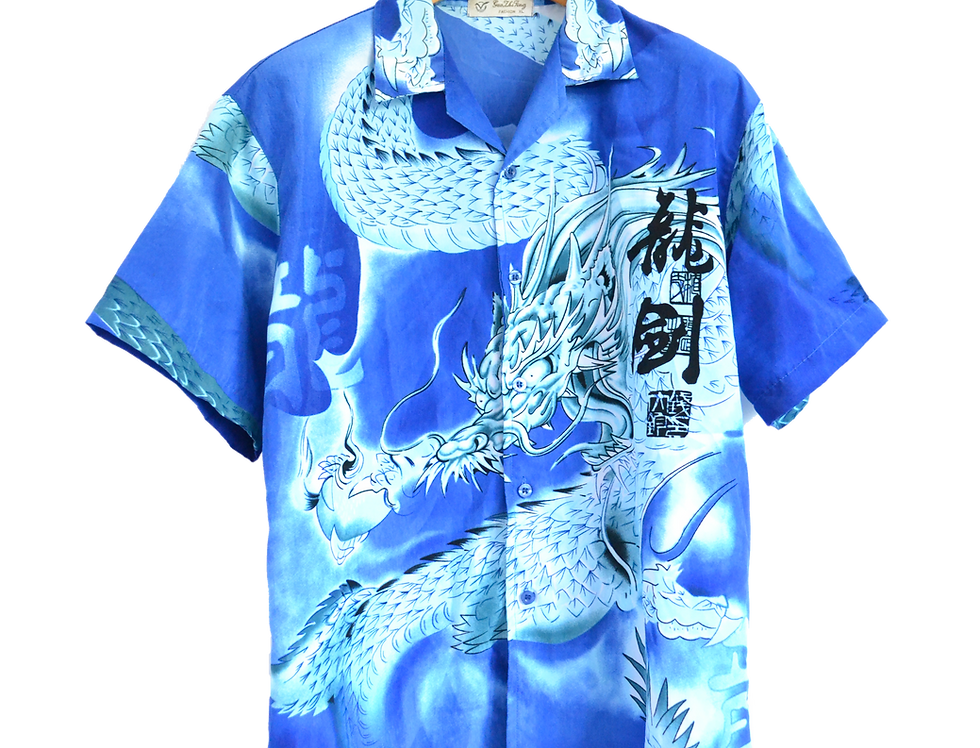 Electric Blue Thunder dragon Shirt M