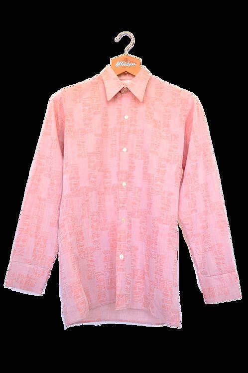 80's Egyprian Print Point Collar Shirt M