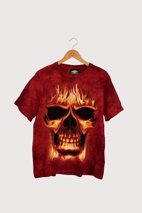 Full Print T-shirt Flaming Skull L