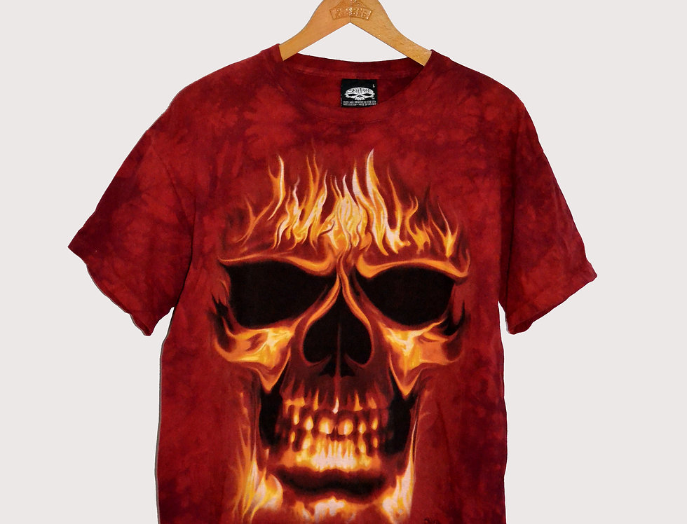 Full Print T-shirt Flaming Skull L