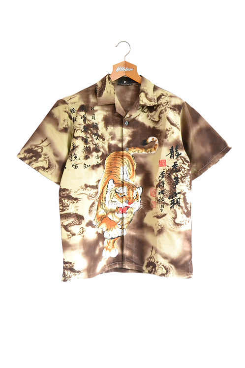 Tiger and Dragons Graphic Shirt Brown M