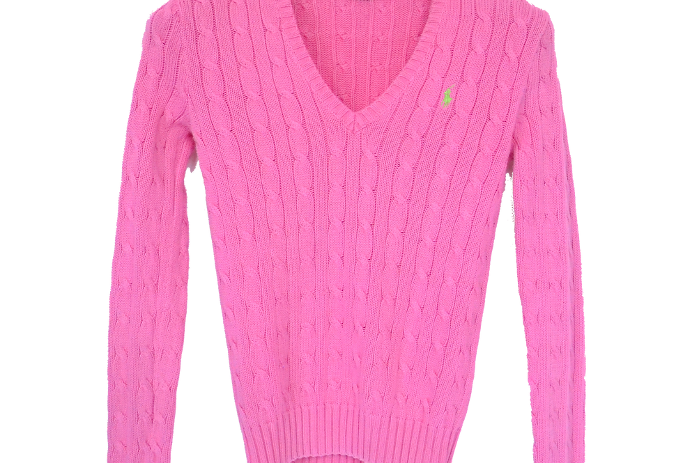 Ralph Lauren Cable Knitted Sweatshirt Bubble Gum S
