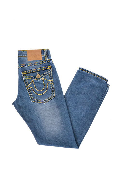 True Religion World Tour Jeans Yellow Stitched Jeans 30