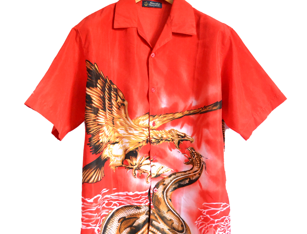 Anaconda Fighting Phoenix Graphic Shirt Blood Red L