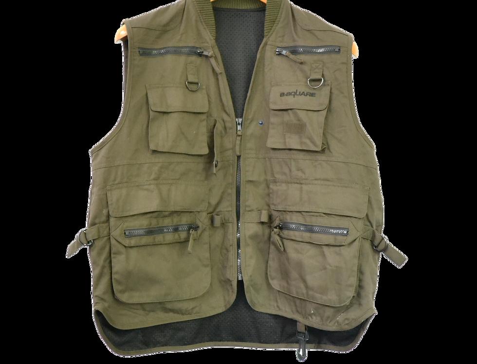 Multipocket Cargo Sleeveless Jacket Green M
