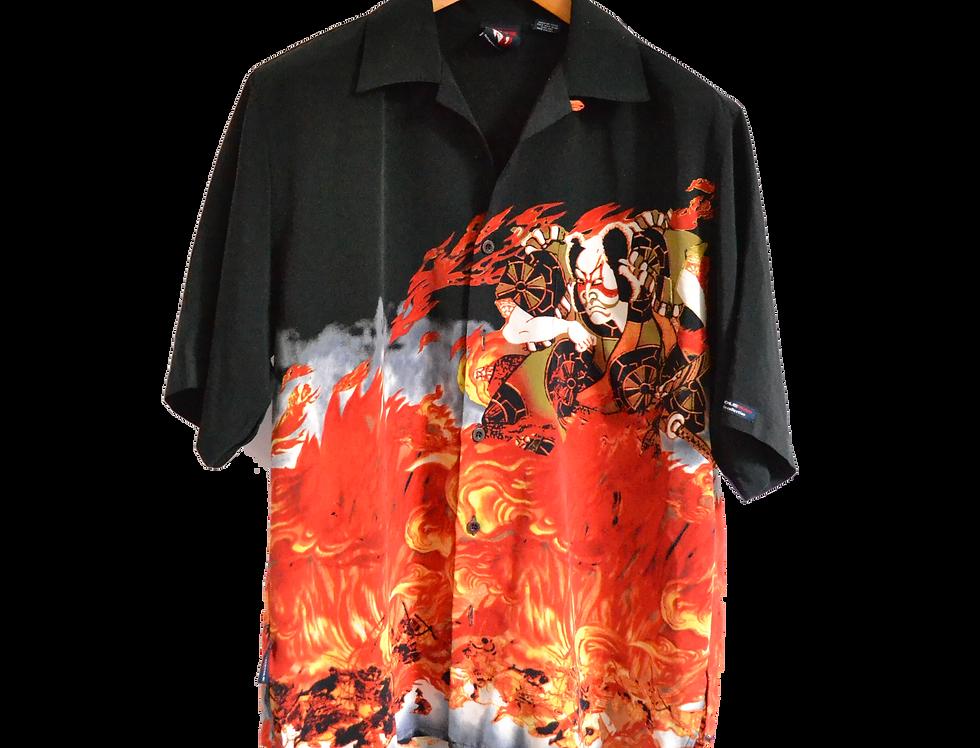 Japanese Fire Samurai  Graphic Shirt M
