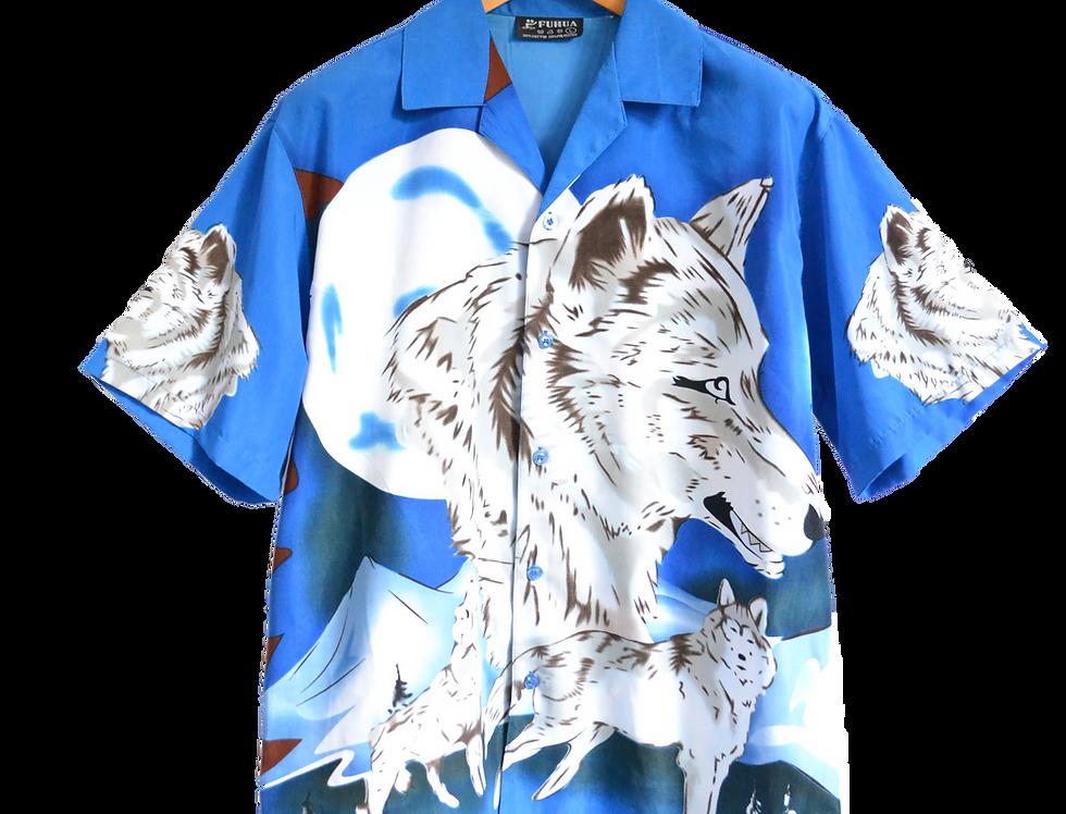 Graphic Shirt Wolf  Moon Blue L