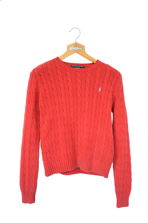 Ralph Lauren Cable Knitted Sweatshirt Red L