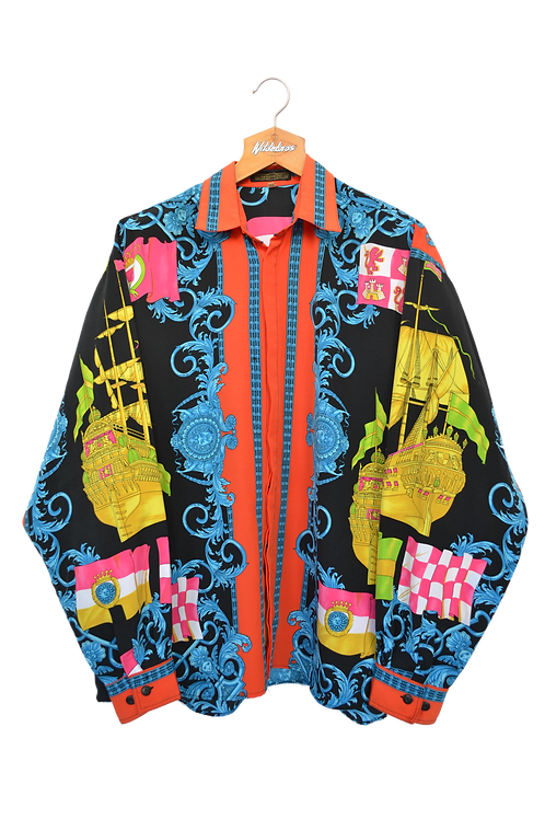 Psychedelic Point Collar Shirt Navy XL