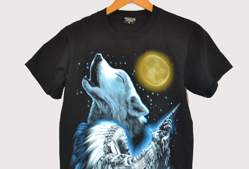 """Graphic Tee """"Wolf and Indian Chief"""""""