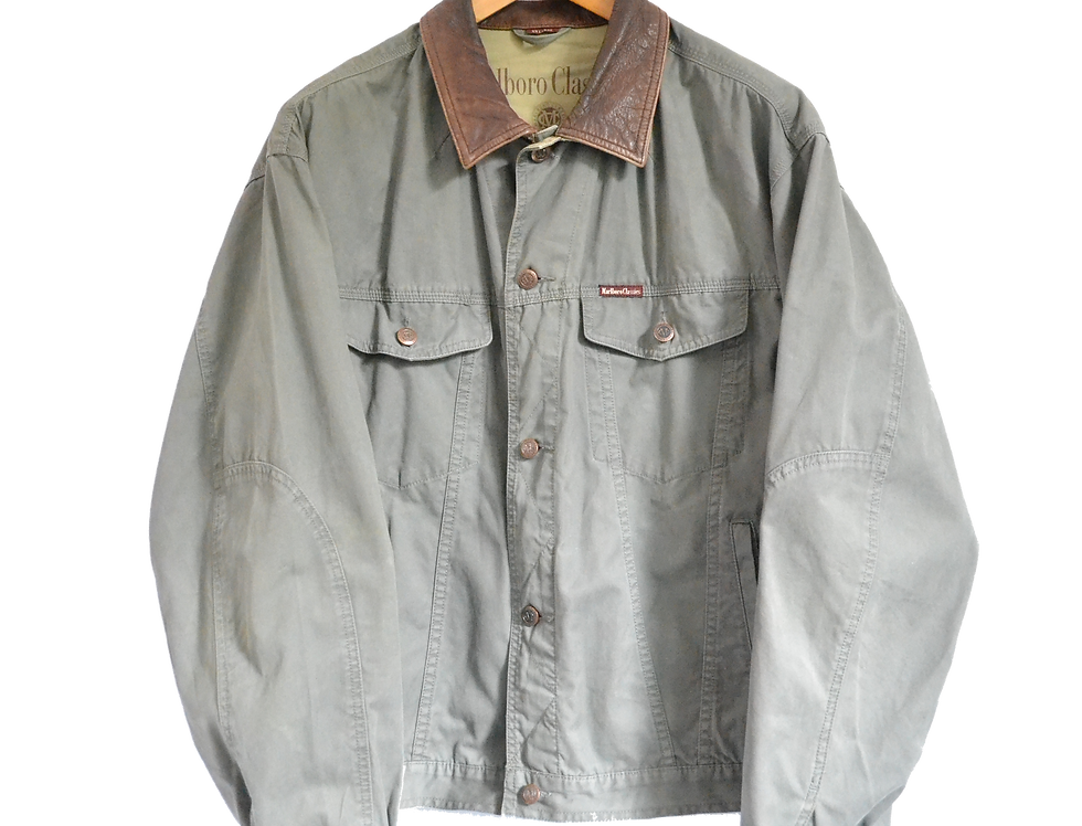 Marlboro Classics 90s Denim/Leather Collar Jacket Olive XXL