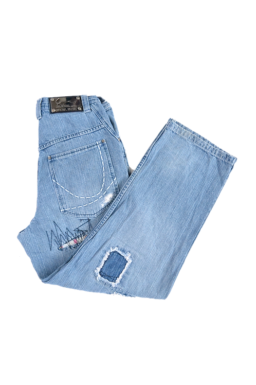 """90s Karl Kani """"The Original Brooklyn Jeansco."""" Patched Jeans 30"""