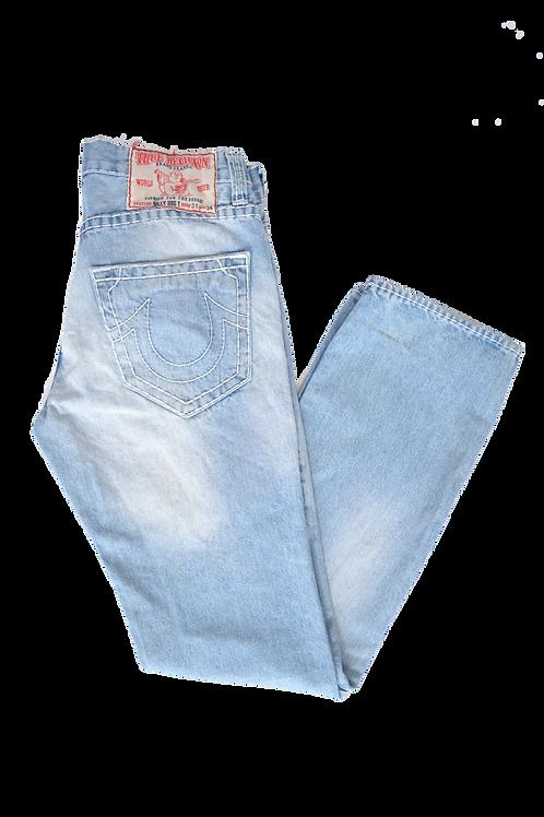 True Religion Light Wash World Tour White Stitched Jeans 31